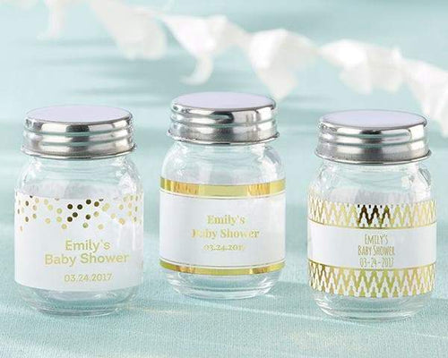 Personalized Gold Foil Mini Mason Jar (Set of 12)