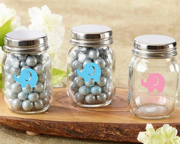 Personalized Little Peanut Elephant Printed Mini Mason Jar (Set of 12)