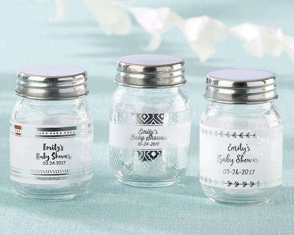 Personalized Silver Foil Mini Glass Mason Jar (Set of 12)