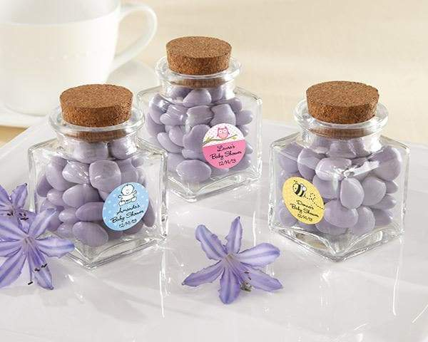 Personalized Baby Shower Petite Treat Square Glass Favor Jar with Cork Stopper (Set of 12)