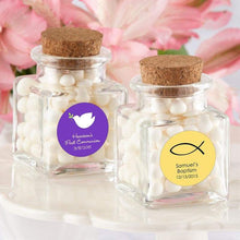 Load image into Gallery viewer, Personalized Religious Petite Treat Square Glass Favor Jar with Cork Stopper (Set of 12)