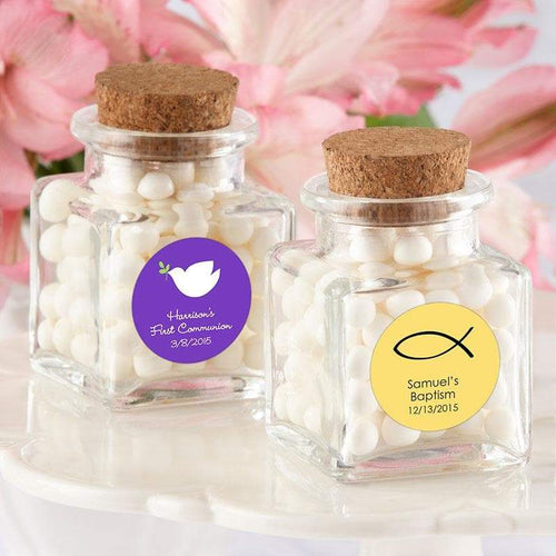 Personalized Religious Petite Treat Square Glass Favor Jar with Cork Stopper (Set of 12)