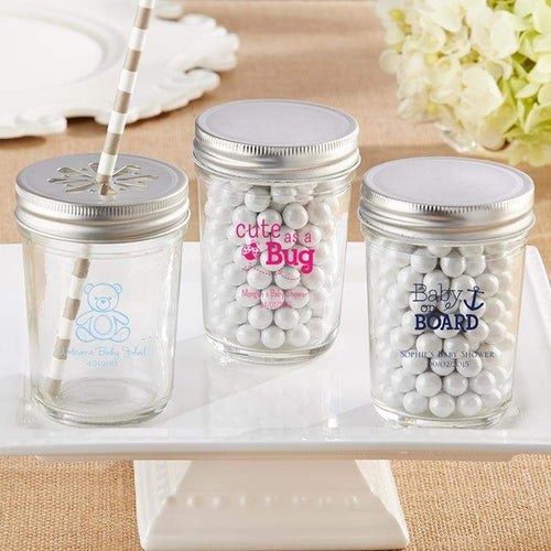 Personalized Baby Shower 8 oz. Glass Mason Jar (Set of 12)
