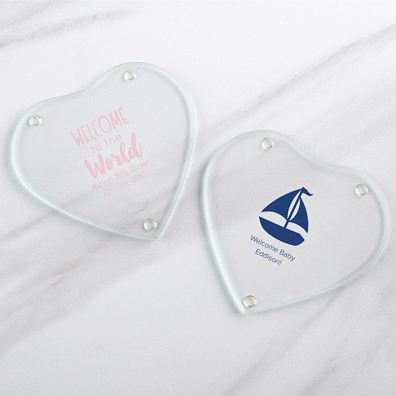 Personalized Baby Shower Glass Heart Shaped Coaster (Set of 12)