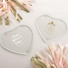 Load image into Gallery viewer, Personalized Princess Party Glass Heart Shaped Coaster (Set of 12)