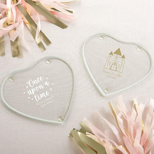 Personalized Princess Party Glass Heart Shaped Coaster (Set of 12)