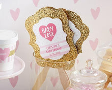 Load image into Gallery viewer, Personalized Baby Love Gold Glitter Hand Fan (Set of 12)