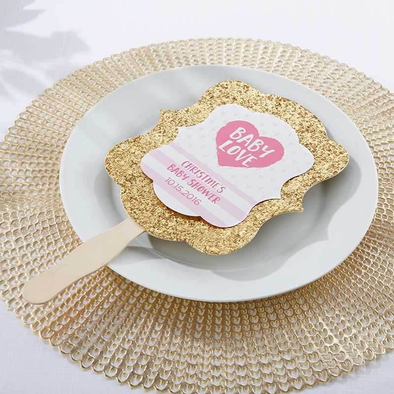 Personalized Baby Love Gold Glitter Hand Fan (Set of 12)