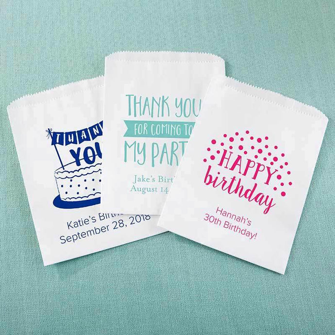 Personalized Adult Birthday White Goodie Bag (Set of 12)
