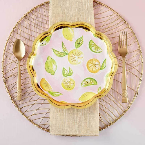 Cheery & Chic Citrus 9 in. Paper Plates (Set of 8)