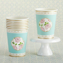Load image into Gallery viewer, Tea Time Whimsy 8 oz. Paper Cups - Blue (Set of 8)