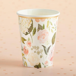 Floral 8 oz. Paper Cups (Set of 8)