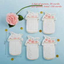 Load image into Gallery viewer, Floral Mason Jar Baby Shower 5-Pack Game Card Set (30 sheets each)