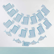 Load image into Gallery viewer, 1st Birthday Milestone Photo Banner & Cake Topper - Shark Party