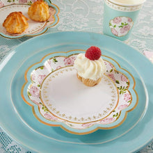Load image into Gallery viewer, Tea Time Whimsy 7 in. Paper Plates - Blue (Set of 16)