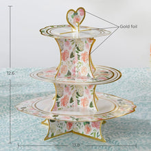 Load image into Gallery viewer, Floral 3-Tier Collapsile cardstock Cupcake Stand