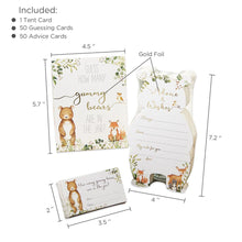 Load image into Gallery viewer, Woodland Baby Advice Card & Baby Shower Game (Set of 50)