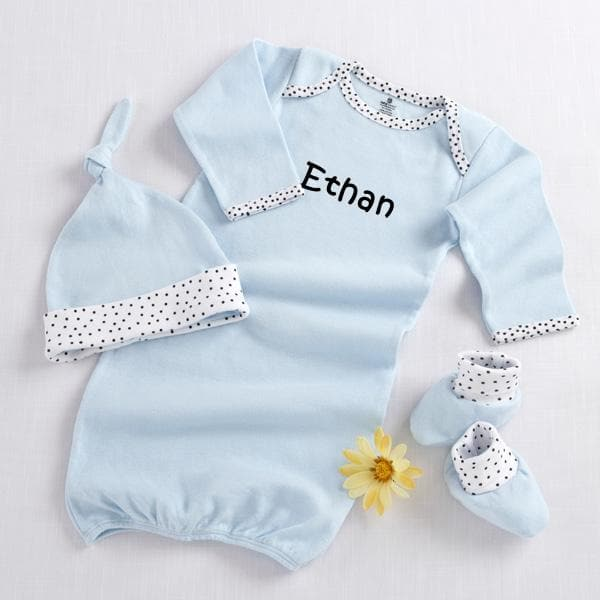 Welcome Home Baby! 3-Piece Layette Set in Keepsake Gift Box (Blue) (Personalization Available)