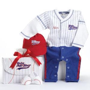 Big Dreamzzz Baby Baseball 3-Piece Layette Set in All-Star Gift Box (Personalization Available)