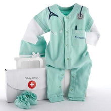"Load image into Gallery viewer, Big Dreamzzz Baby M.D. 3-Piece Layette Set in ""Doctor's Bag"" Gift Box (Personalization Available)"