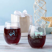 Load image into Gallery viewer, Personalized Baby Shower 9 oz. Stemless Wine Glass