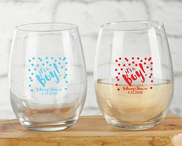 Personalized It's a Boy! 9 oz. Stemless Wine Glass