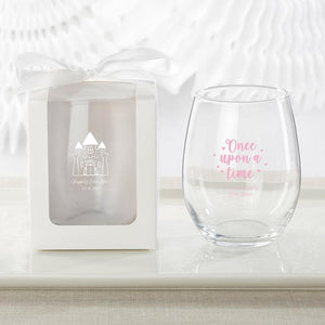Personalized Princess Party 9 oz. Stemless Wine Glass