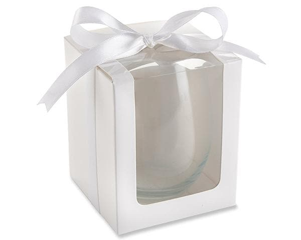 White 9 oz. Glassware Gift Box with Ribbon (Set of 12)