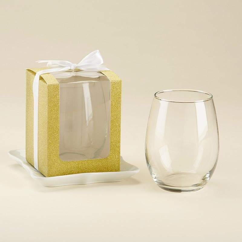 Gold 15 oz. Stemless Wine Glassware Gift Box with Ribbon (Set of 12)