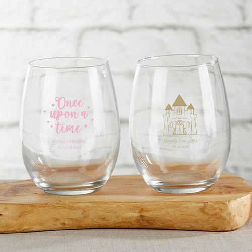 Personalized Princess Party 15 oz. Stemless Wine Glass