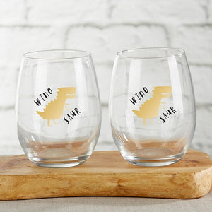 Wine-A-Saurus 15 oz. Stemless Wine Glass (Set of 4)