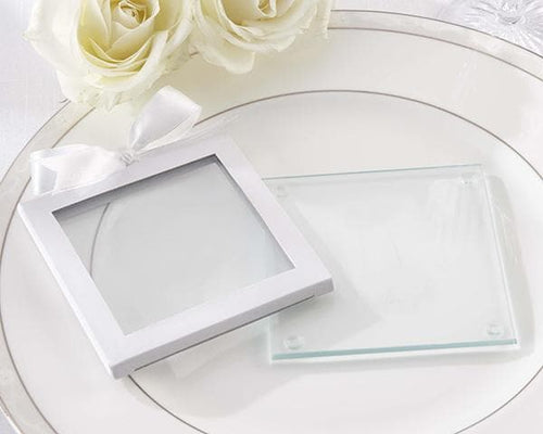 30026WT	White Glass Coaster Gift Sleeve (Set of 12)