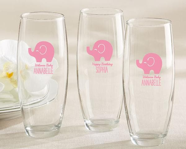 Personalized Little Peanut Elephant 9 oz. Stemless Champagne Glass