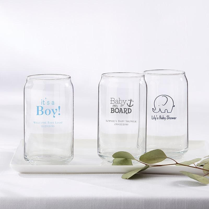 Personalized Baby Shower 16 oz. Beer Can Glass