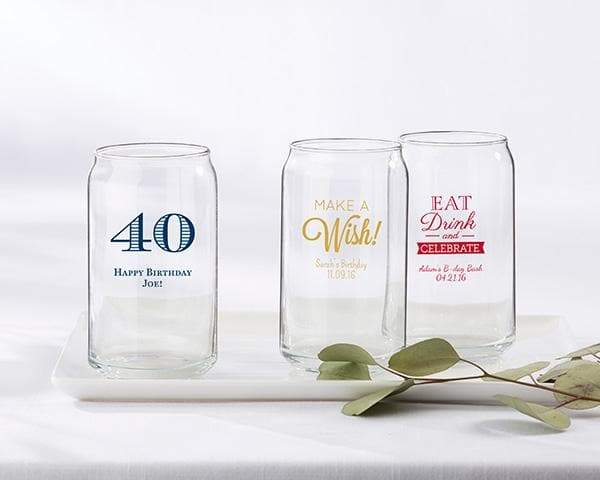 Personalized Birthday 16 oz. Beer Can Glass