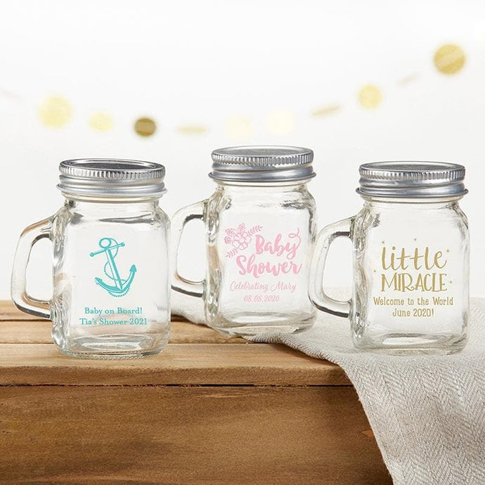 Personalized Baby Shower 4 oz. Mini Mason Mug Shot Glass with Lid