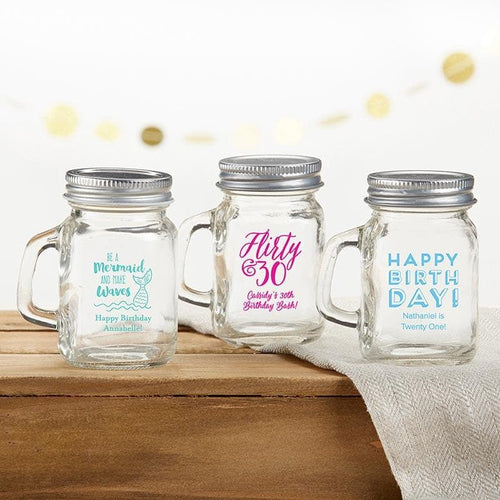 Personalized Birthday 4 oz. Mini Mason Mug Shot Glass with Lid