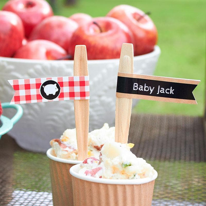 Personalized Baby-Q Party Straw Flags
