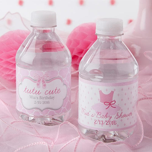 Personalized Tutu Cute Ballerina Water Bottle Labels