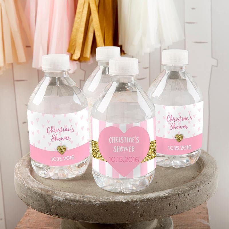 Personalized Sweet Heart Water Bottle Labels