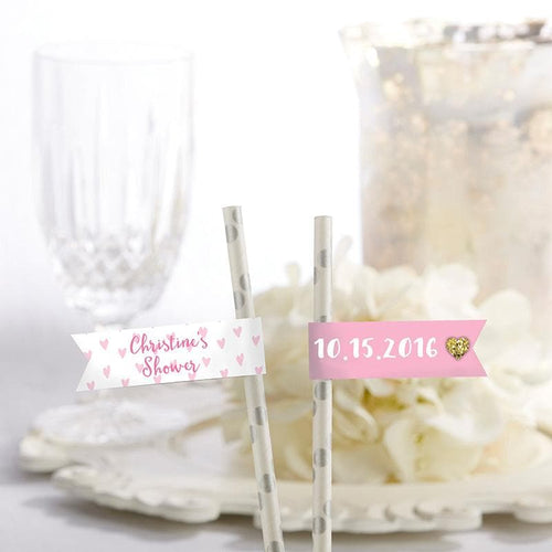Personalized Sweet Heart Party Straw Flags