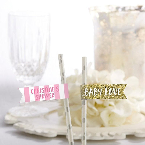 Personalized Baby Love Party Straw Flags
