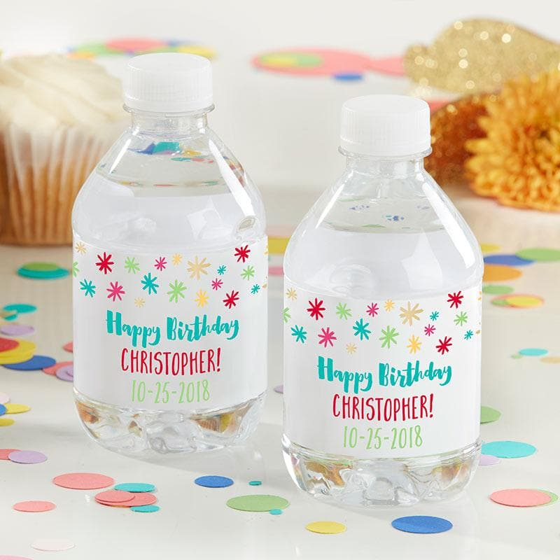 Personalized Happy Birthday Water Bottle Labels