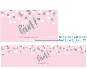 Personalized It's a Girl! Water Bottle Labels