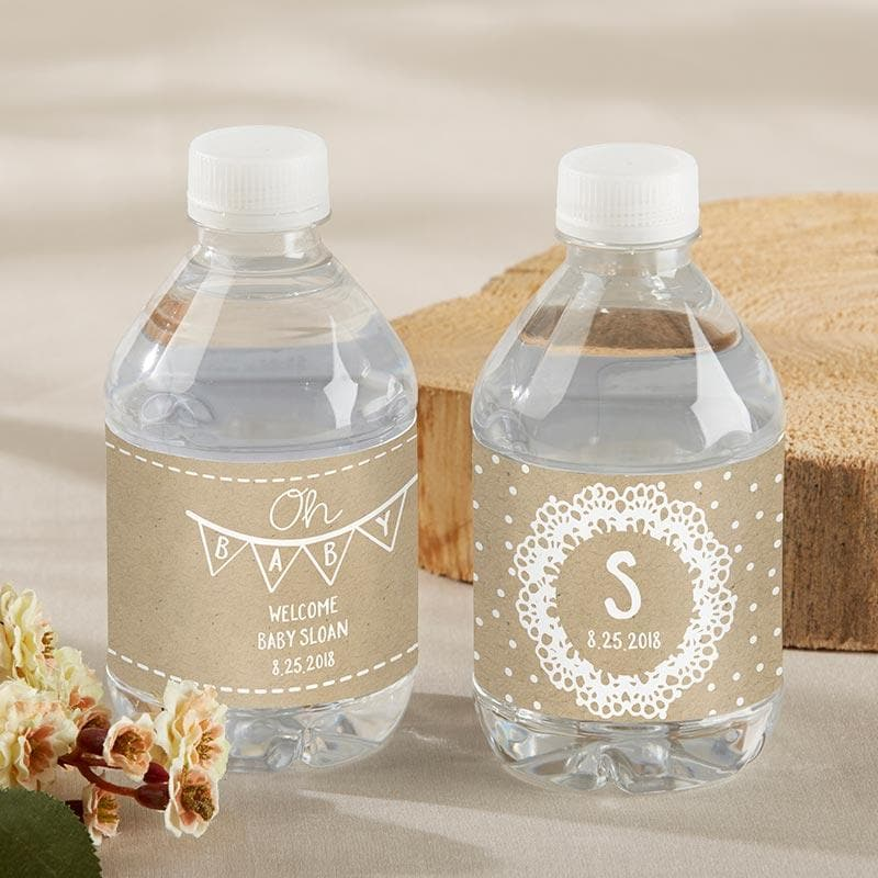 Personalized Rustic Charm Baby Shower Water Bottle Labels Corner
