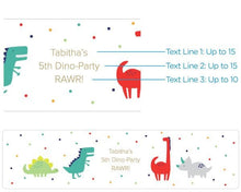 Load image into Gallery viewer, Personalized Dino Party Water Bottle Labels