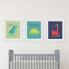 Load image into Gallery viewer, Personalized Dino Baby Nursery Décor Wall Art (Set of 3 Prints)