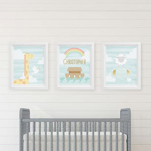 Personalized Noah's Ark Nursery Décor Wall Art (Set of 3 Prints)