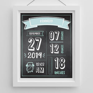 Personalized Newborn Infographic Nursery Décor Wall Art (Multiple Colors Available)