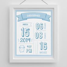 Load image into Gallery viewer, Personalized Newborn Infographic Nursery Décor Wall Art (Multiple Colors Available)